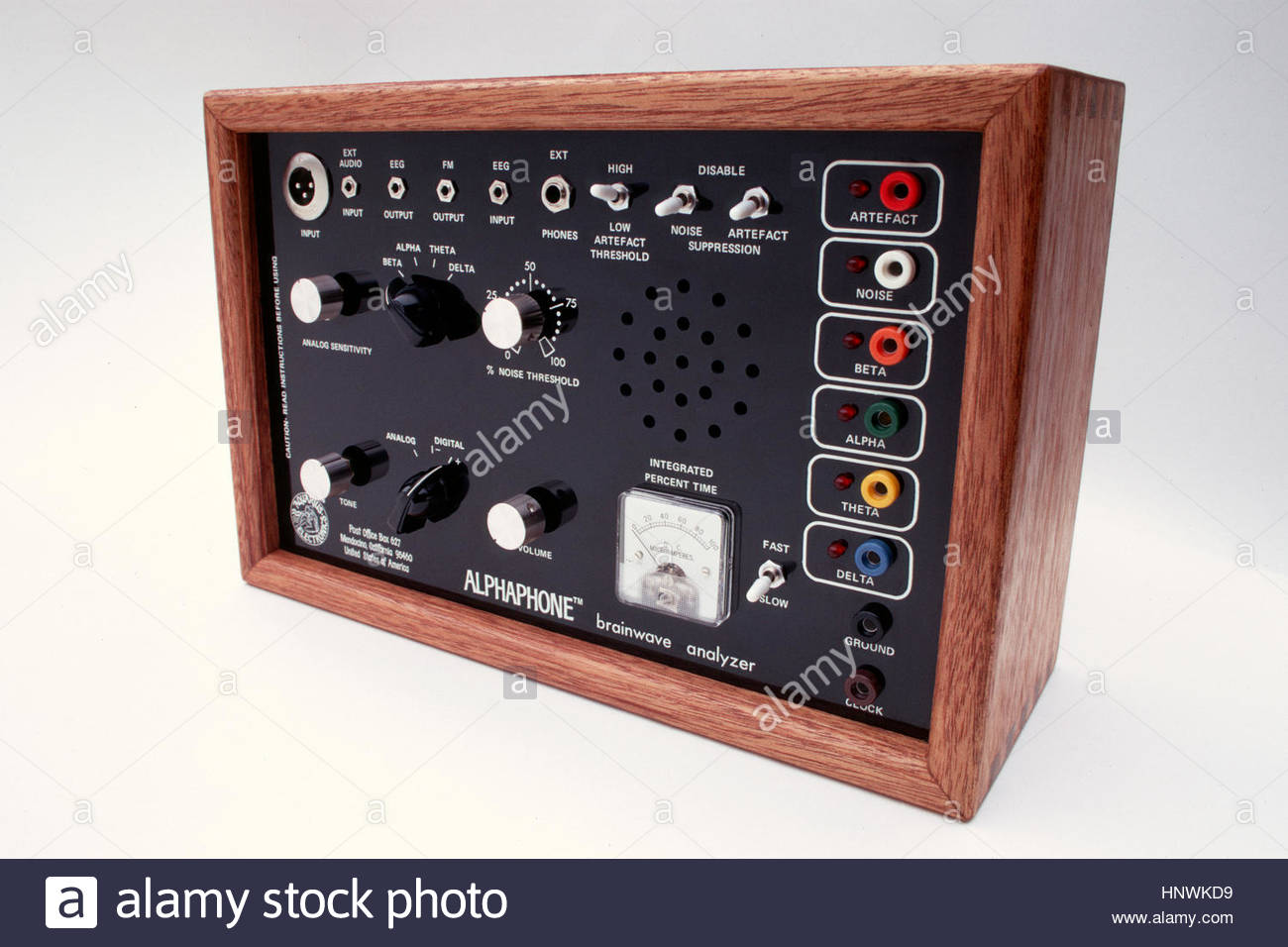 Original ALPHAPHONE brainwave analyzer designed by R. Timothy Scully, PhD in 1972 Stock Photo