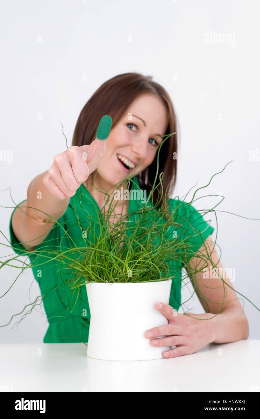 Model release, Junge Frau mit Gruenem Daumen, Symbolbild - woman with potted plant - Stock Image