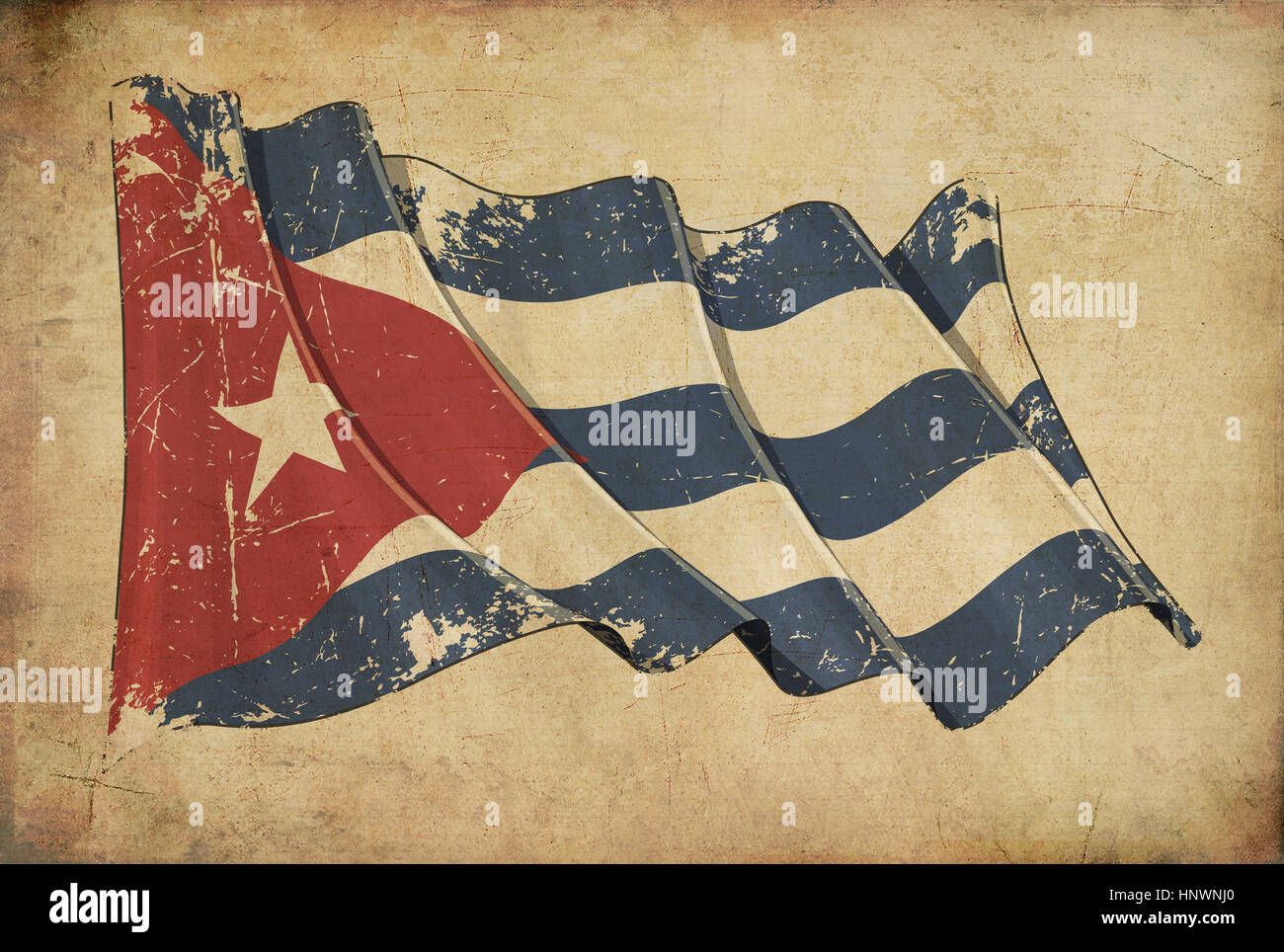 Wallpaper Depicting An Aged Paper Textured Background With A Scratched Illustration Of The Cuban Flag
