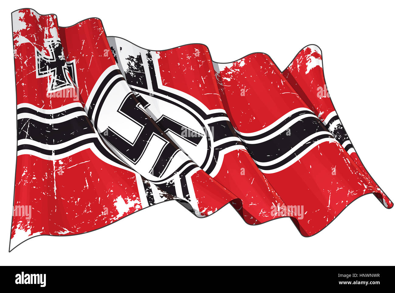 Editorial Illustration of a scratched waving German War Ensign 1938-1945 againsed white - Stock Image
