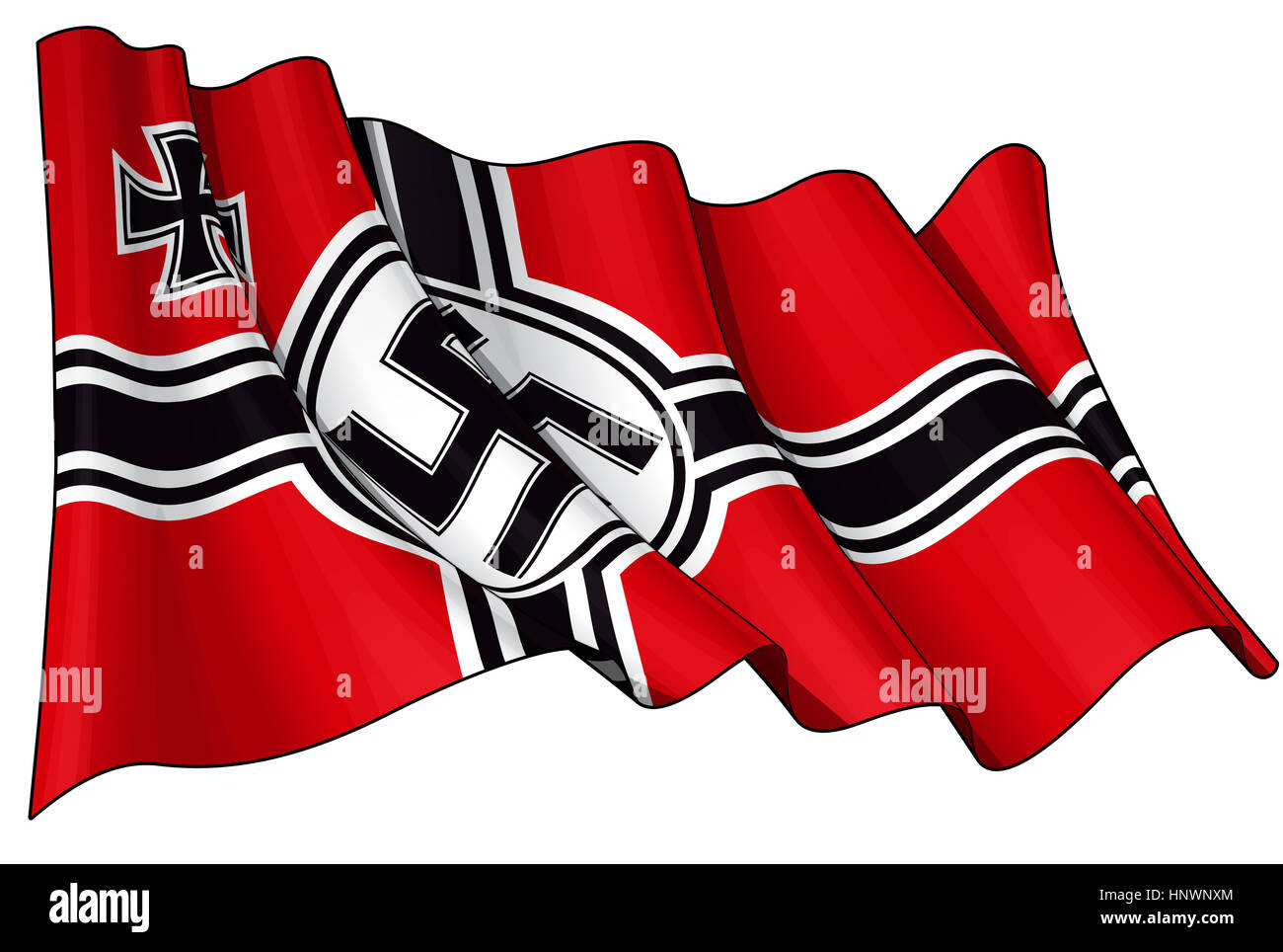 Editorial Illustration of a waving German War Ensign 1938-1945 againsed white - Stock Image