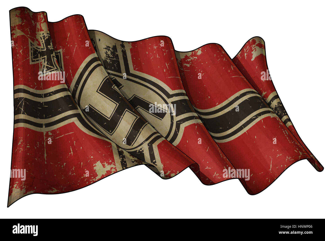 Editorial Illustration of an aged rusty, scrutched German War Ensign 1938-1945 againsed white - Stock Image