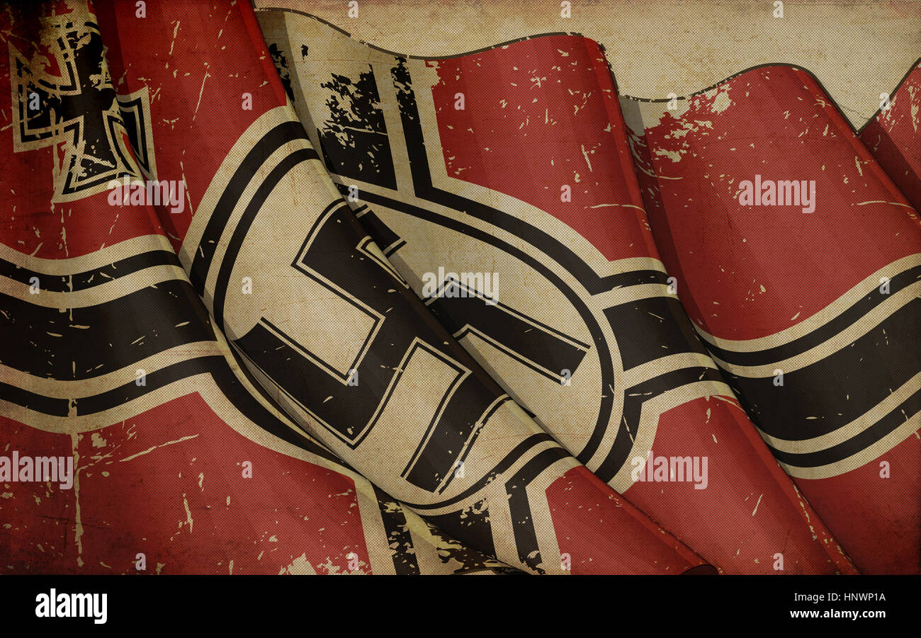 Editorial Illustration of a rusty German War Ensign 1938-1945 Old Paper printed on old paper - Stock Image