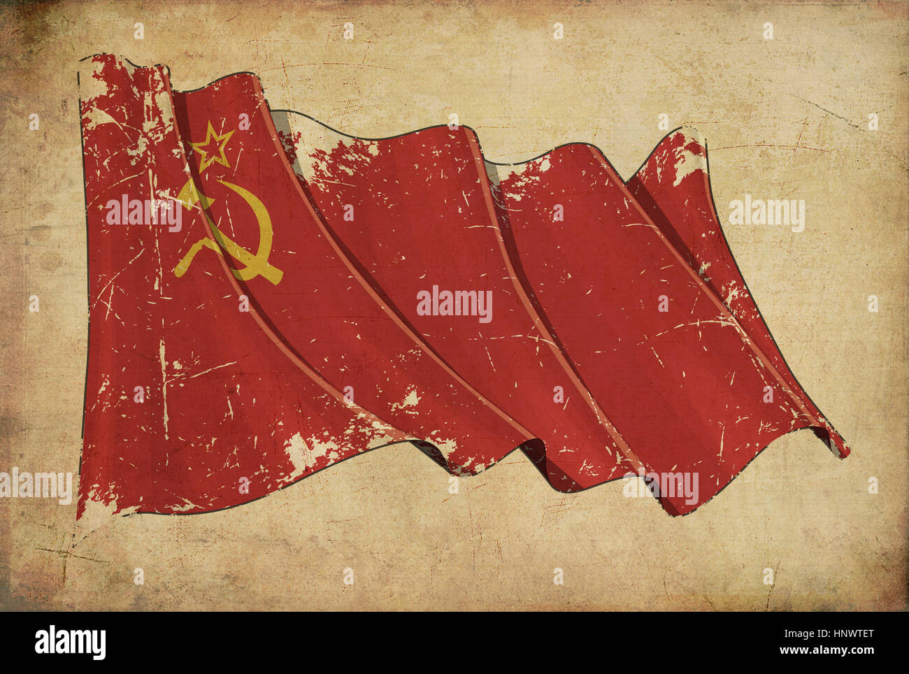Wallpaper depicting an aged paper, textured background with a scratched illustration of the Soviet Union flag - Stock Image