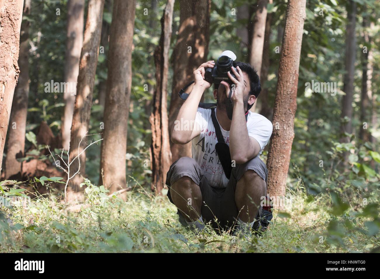 Photographer, Barnawapara WLS, Chhattisgarh. - Stock Image