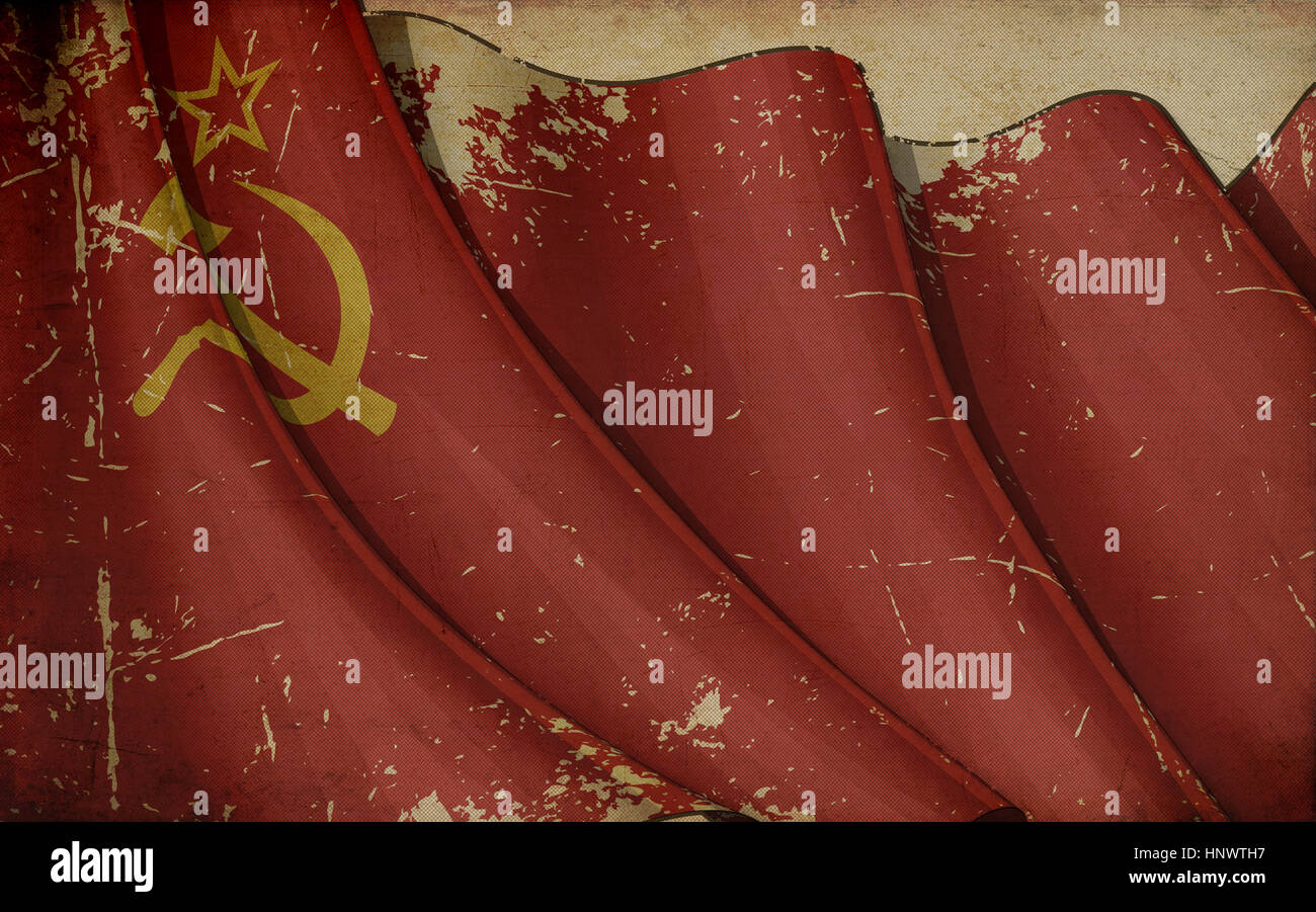 Illustration of a rusty USSR Ensign printed on old paper - Stock Image
