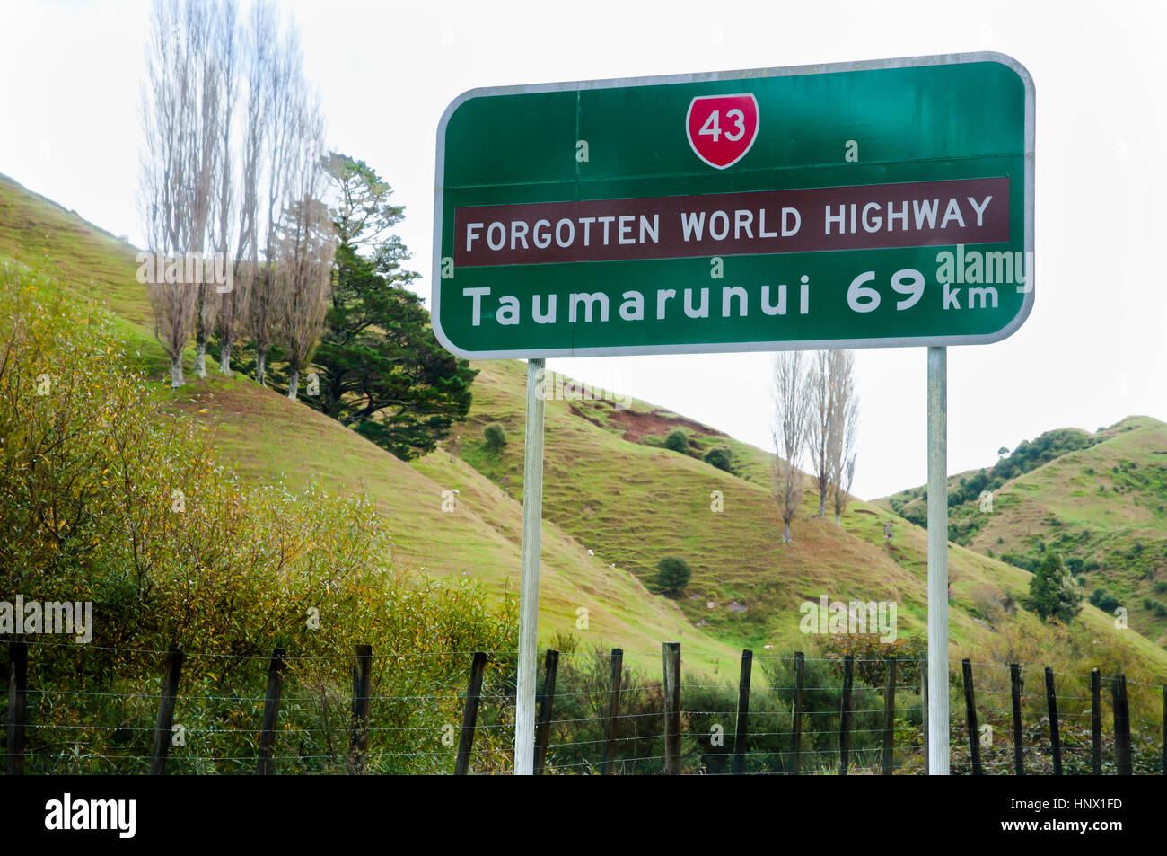 Forgotten World Highway Sign - New Zealand - Stock Image