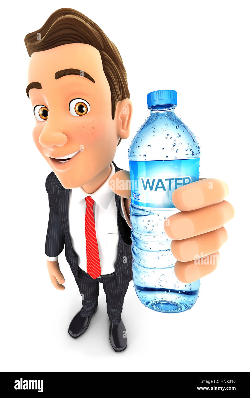 3d businessman holding water bottle, illustration with isolated white background Stock Photo