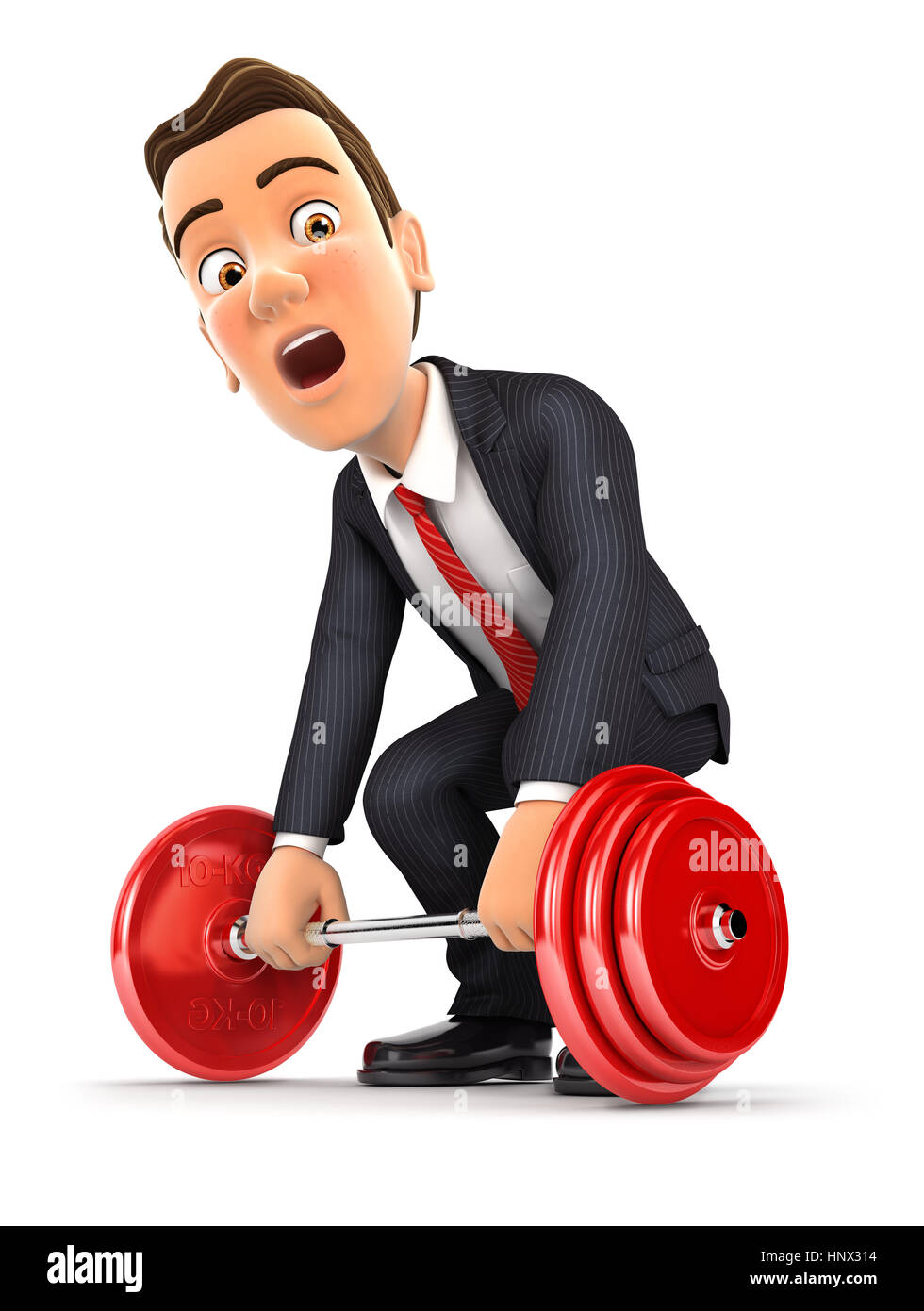 3d businessman trying to lift heavy weight, illustration with isolated white background Stock Photo