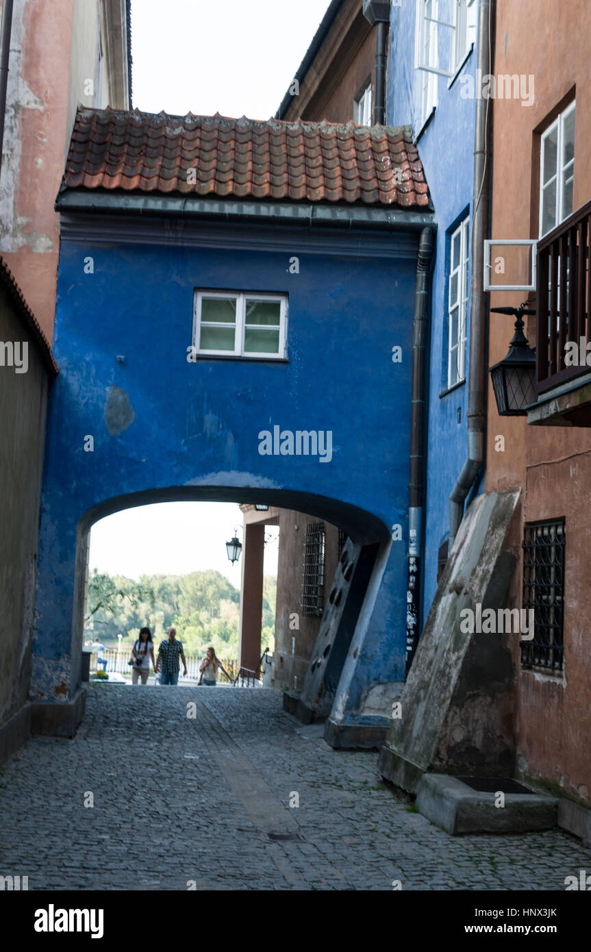 A cobbled stone narrow street,  Ulica Dawna ( Old Street) in Warsaw Old Town,Warsaw, Poland.  85 % of the old town - Stock Image