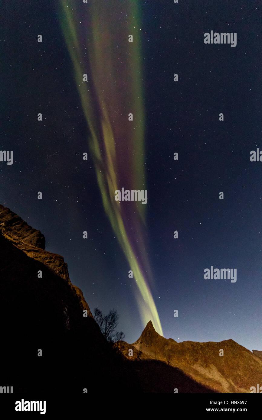 Northern lights (Aurora Borealis) seen on Senja Island in autumn, Arctic Norway - Stock Image