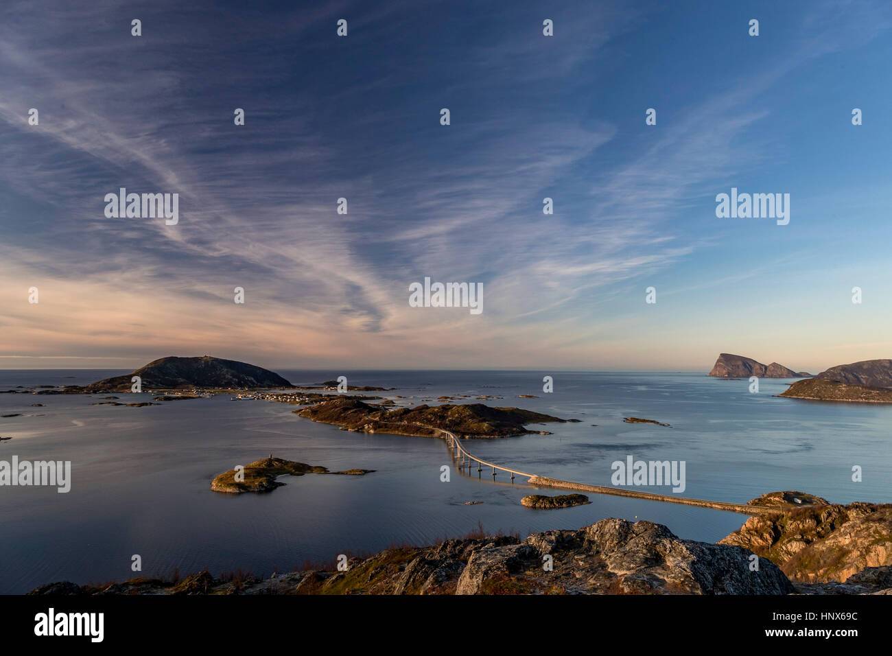 View of famous Sommaroy Bridge crossing from Kvaloya Island to Sommaroy Island in autumn, Arctic Norway - Stock Image