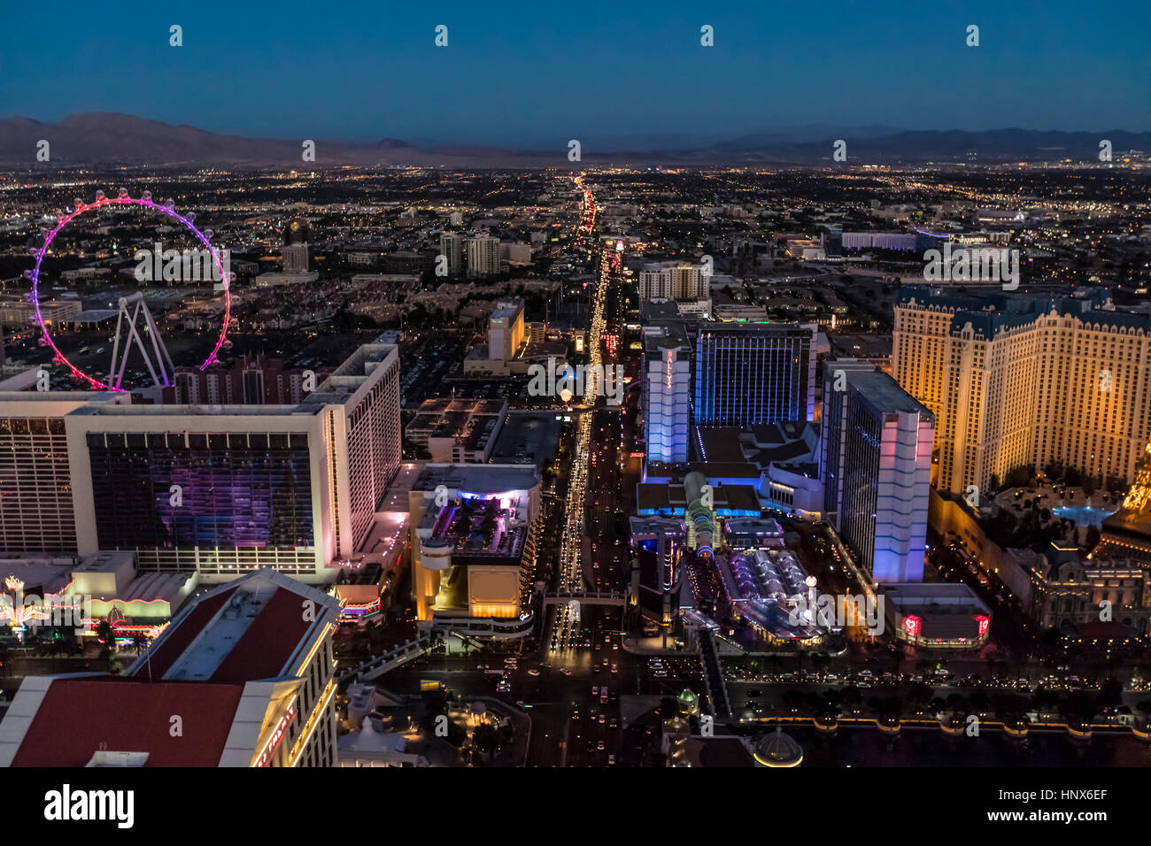 The Strip at night, Las Vegas, Nevada, USA - Stock Image