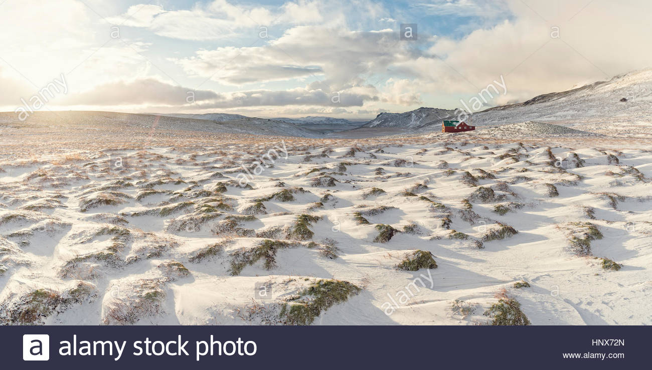 Snow-covered landscape, Skalafell, Iceland - Stock Image