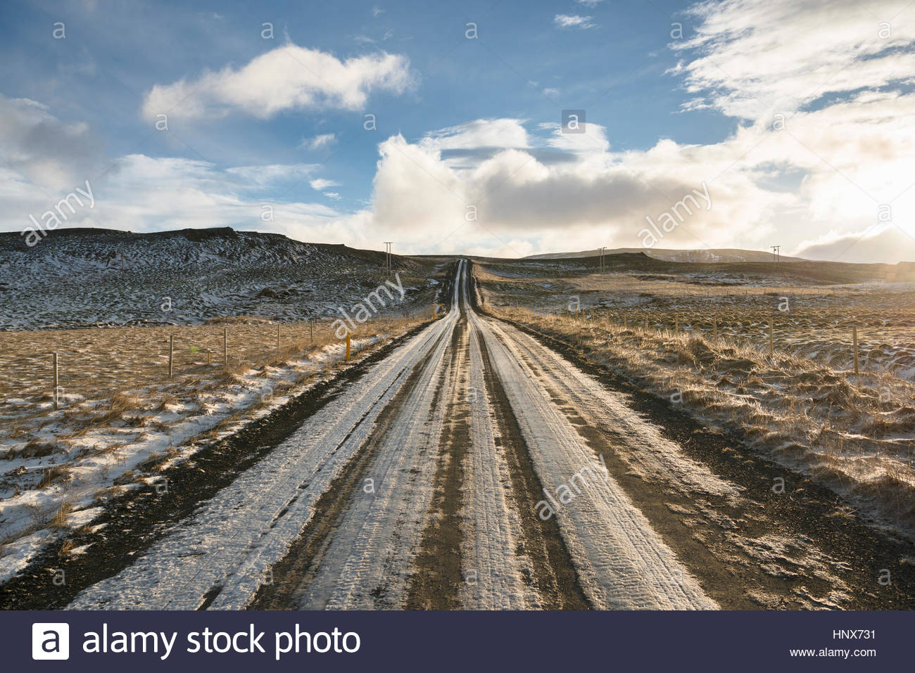 Road through Mosfellsheidi, Iceland - Stock Image