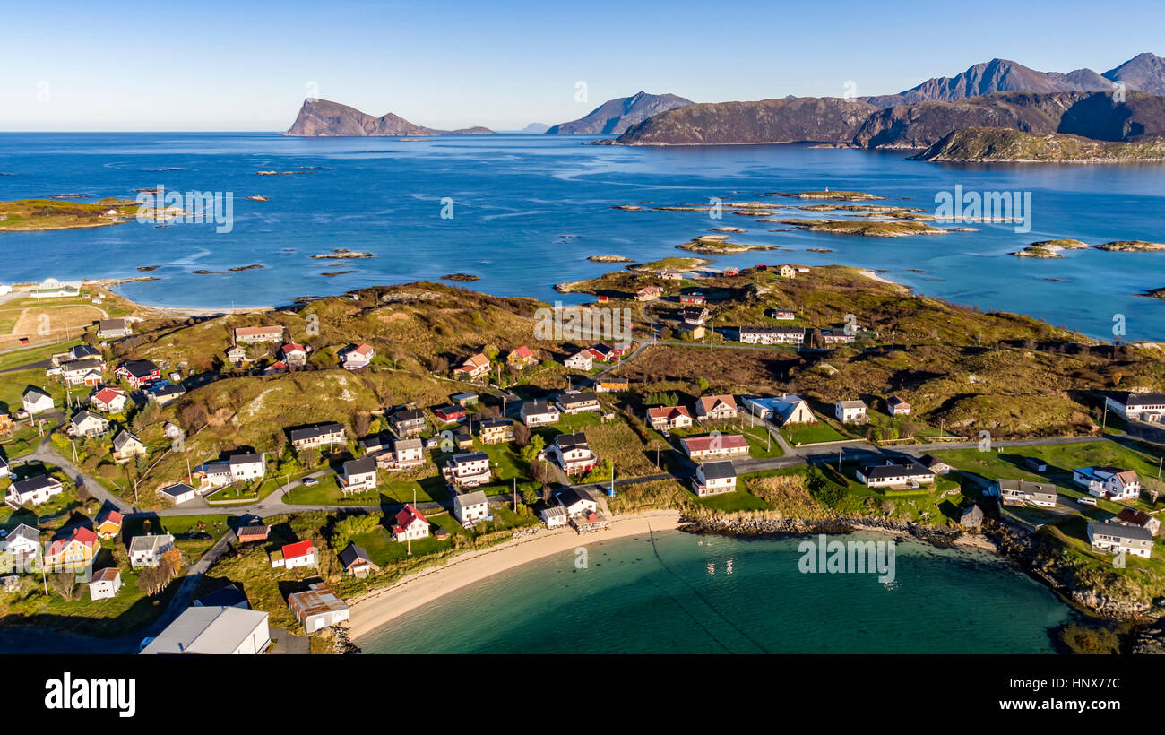 Aerial view of Sommaroy Island in autumn, Arctic Norway - Stock Image