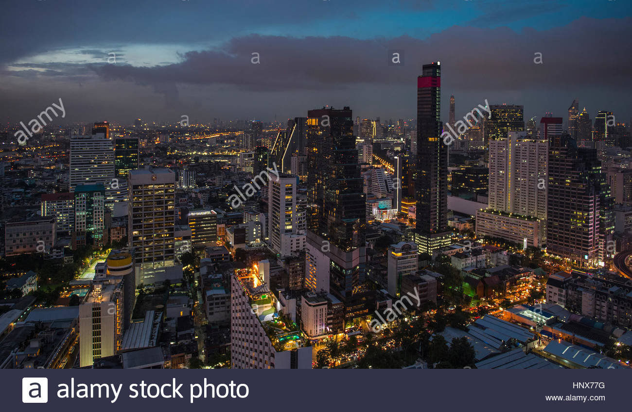 Sathorn district by night, Bangkok - Stock Image