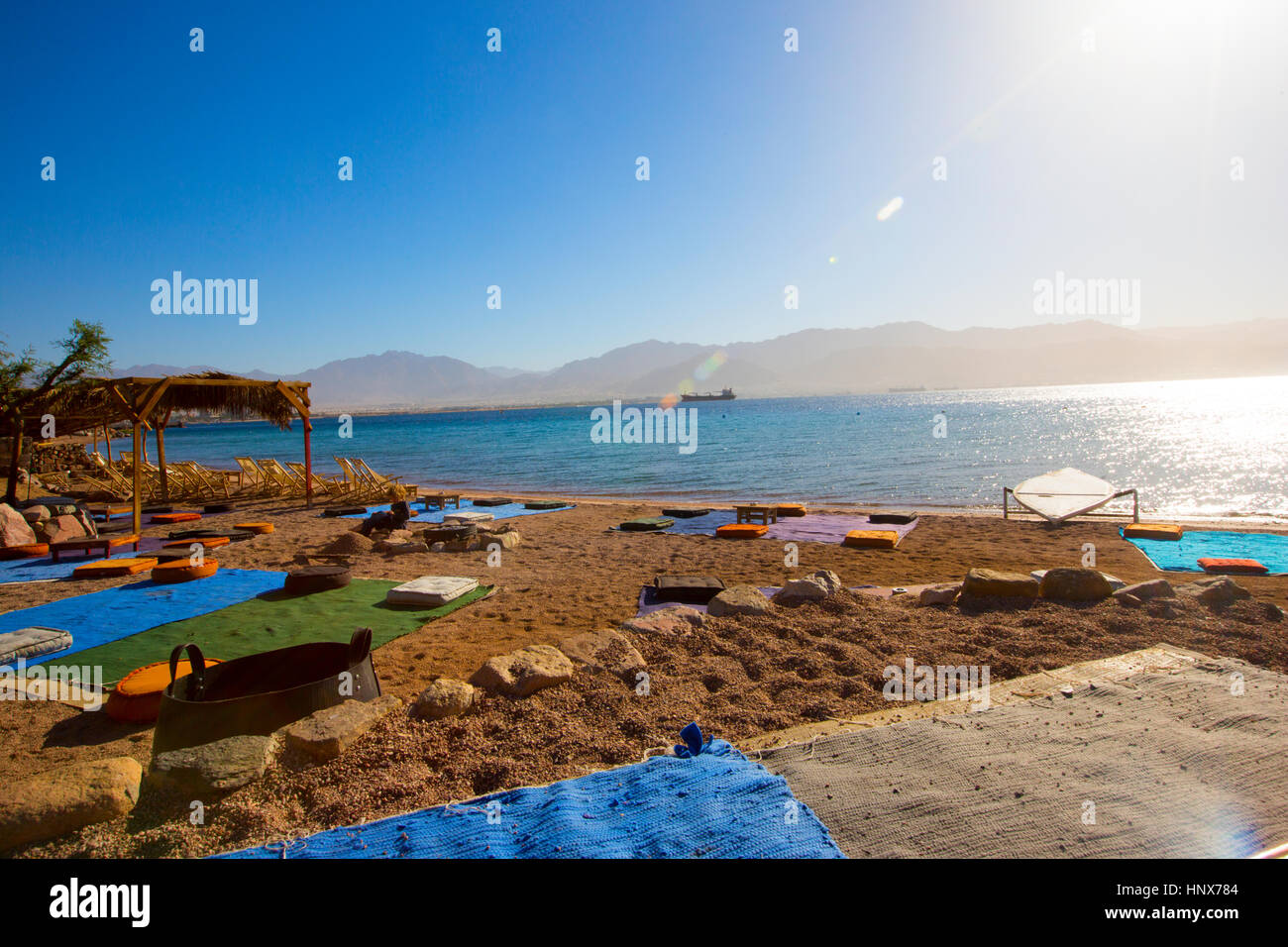 Summer seaside holiday concept, Red Sea, Israel Stock Photo