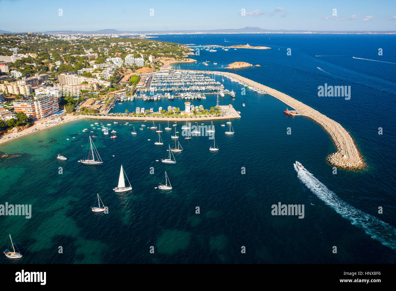 High angle view of yachts anchored on coastline, Majorca, Spain - Stock Image
