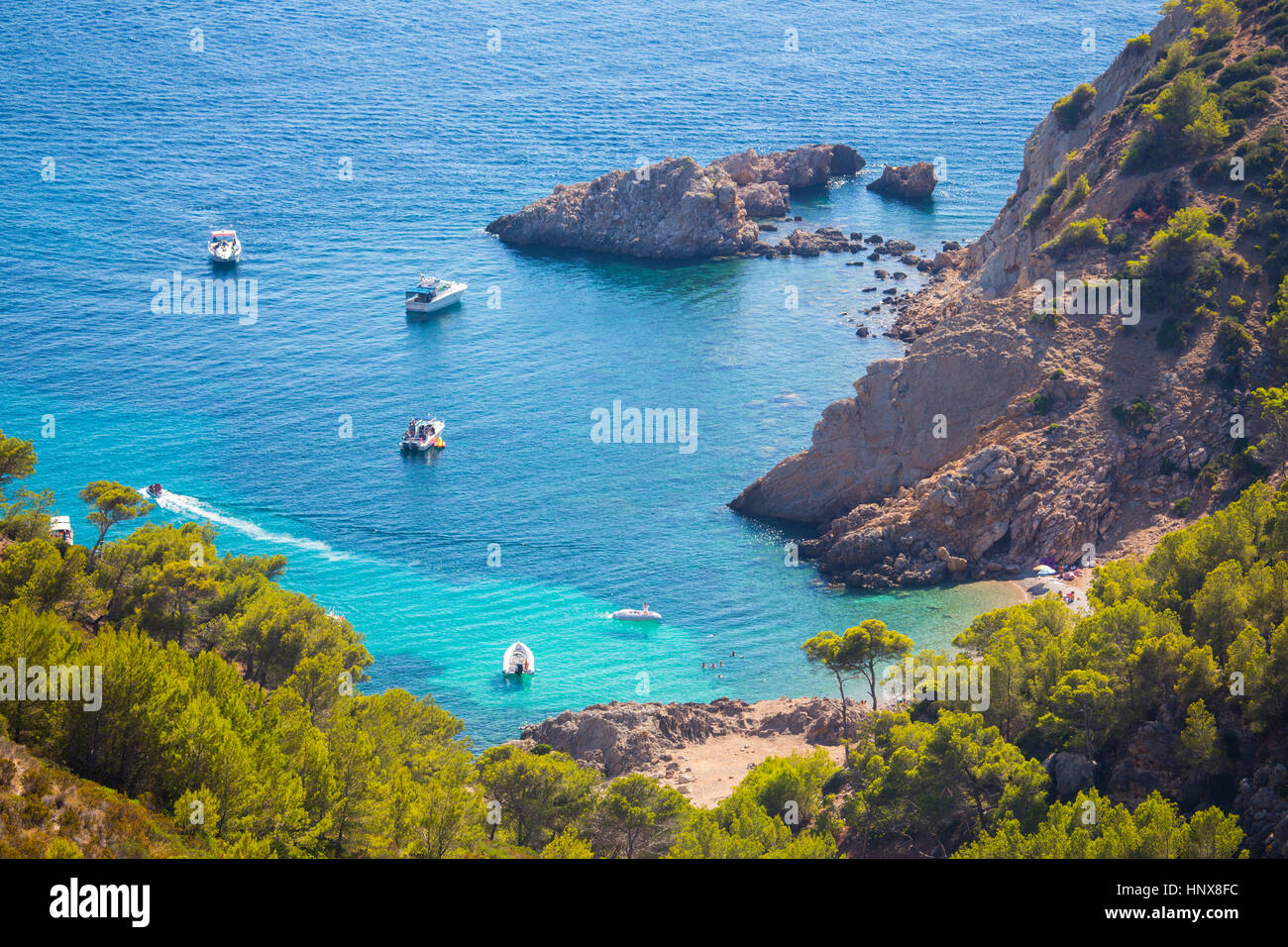 High angle view of yachts anchored in bay, Andratx, Majorca, Spain - Stock Image