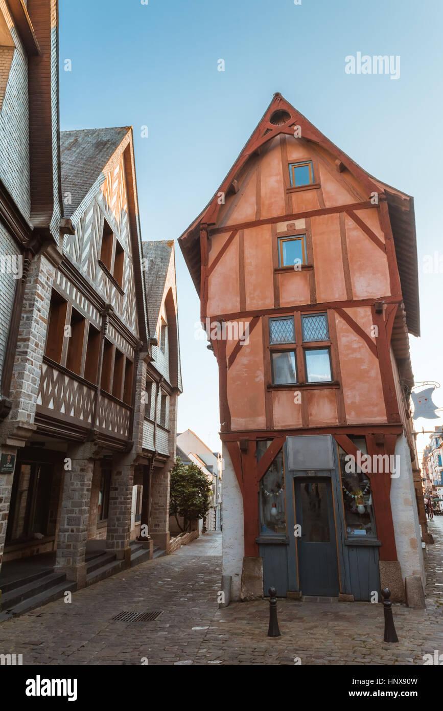 Marvelous Street In Old Breton Brittany Town Vitre, Ille Et Vilaine, France