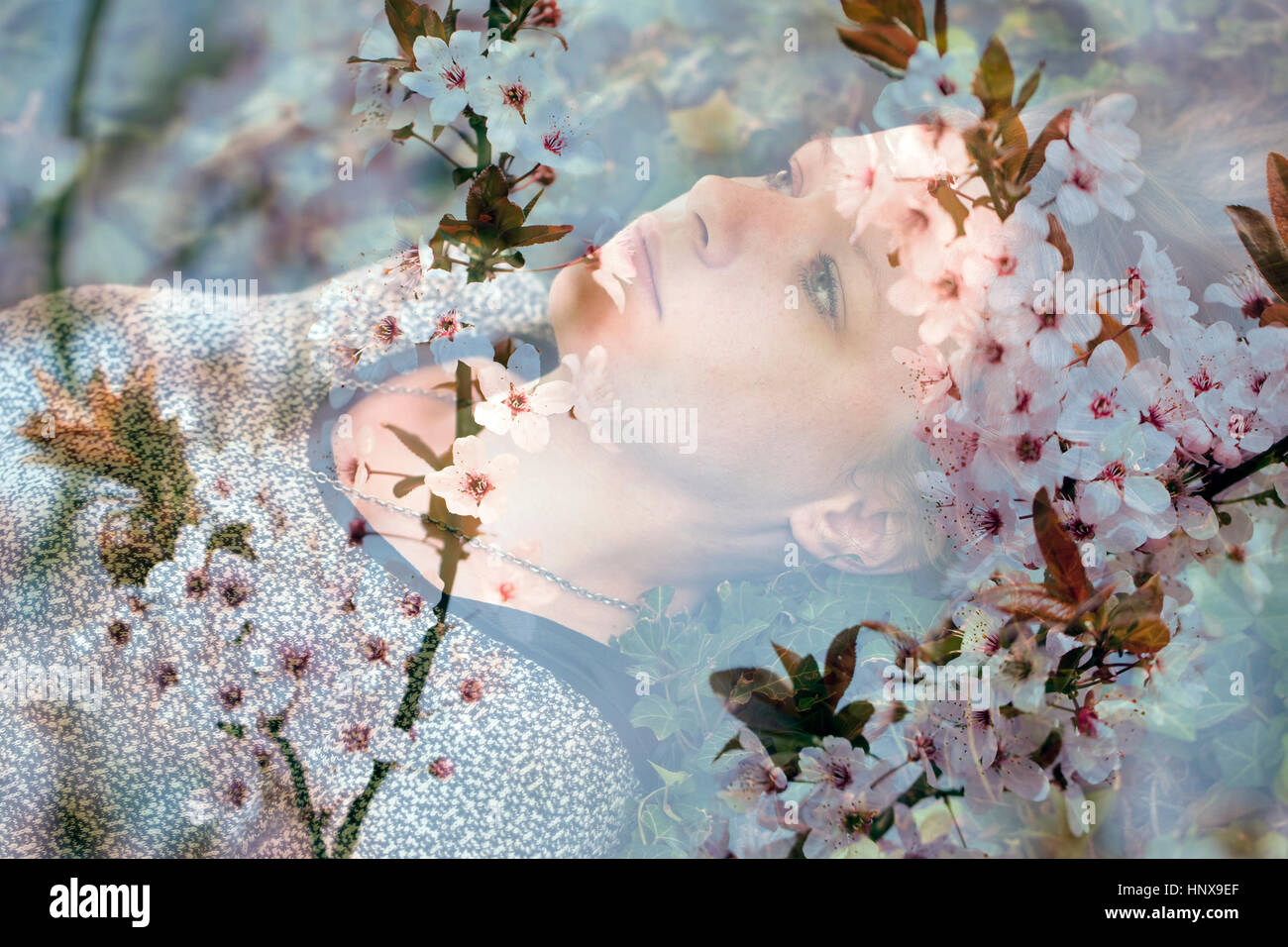 Multi exposure photo of sad teen girl - Stock Image