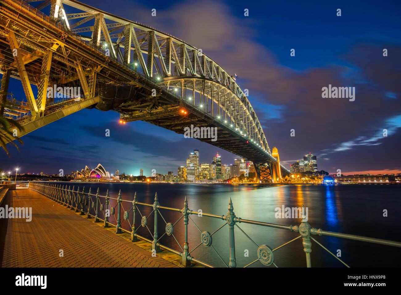 Sydney. Cityscape image of Sydney, Australia with Harbour Bridge during twilight blue hour. - Stock Image