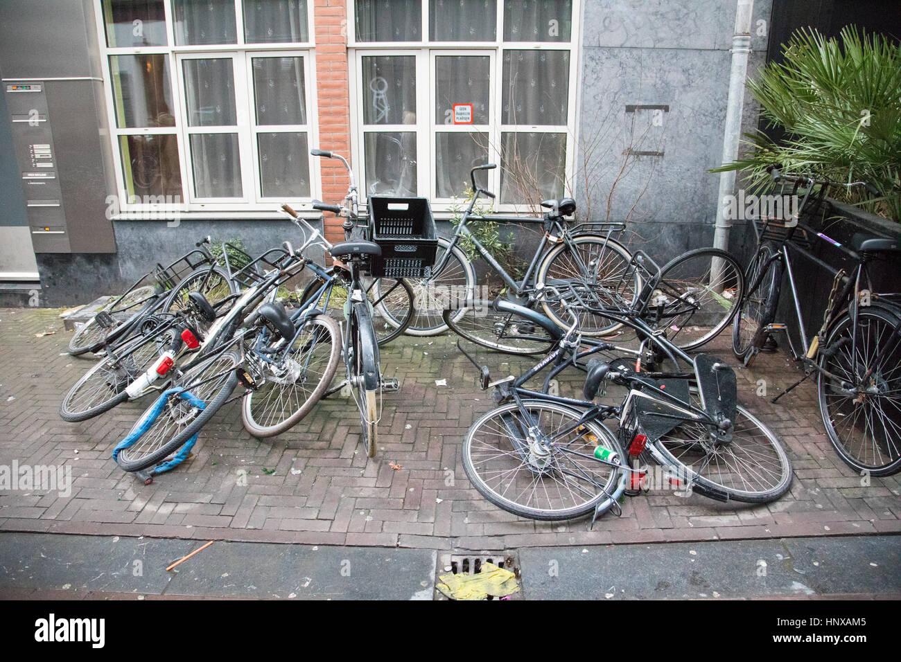 Street scene of bikes in Amsterdam, Holland. - Stock Image