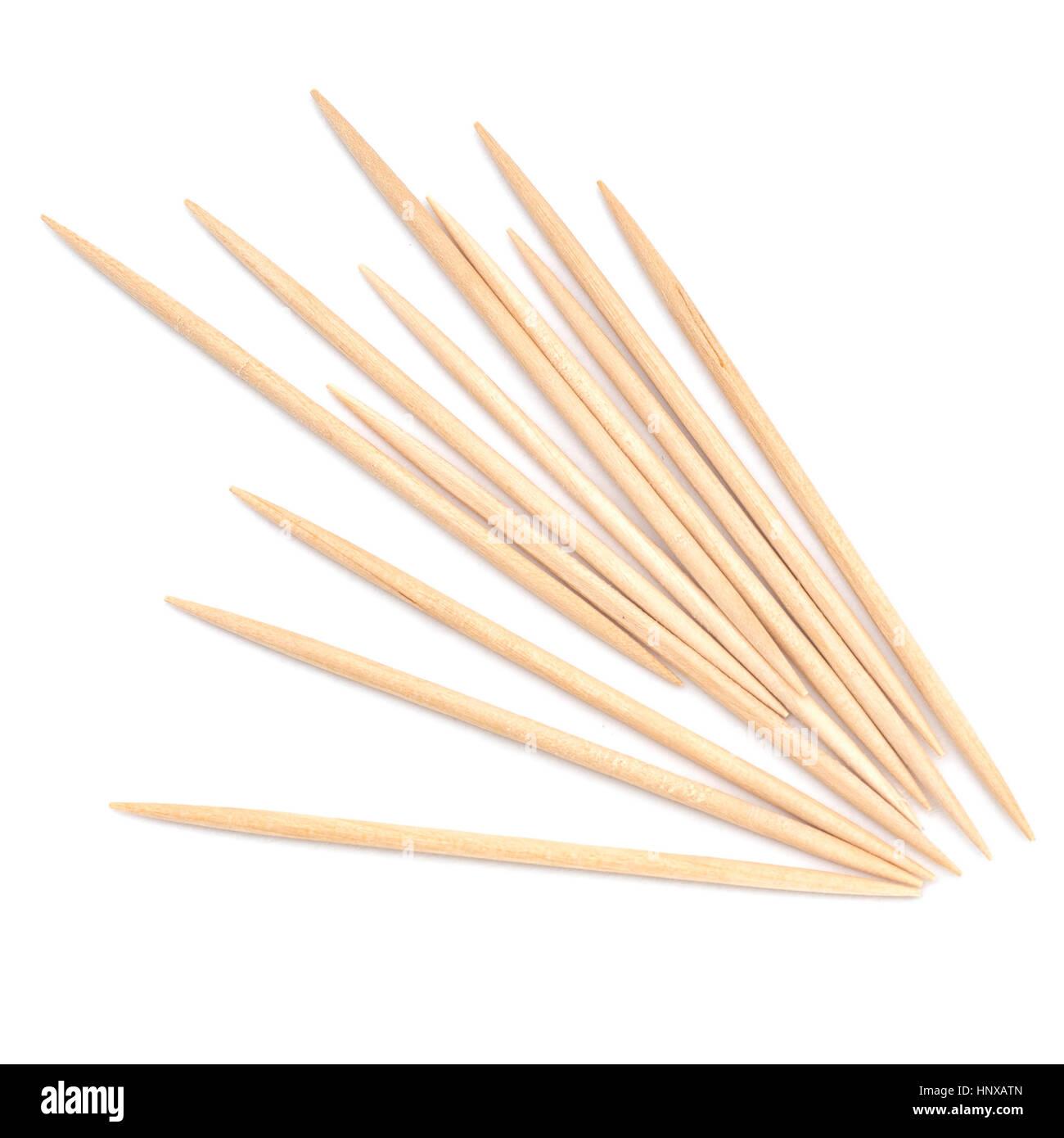 Toothpicks, cocktail sticks. On white. - Stock Image