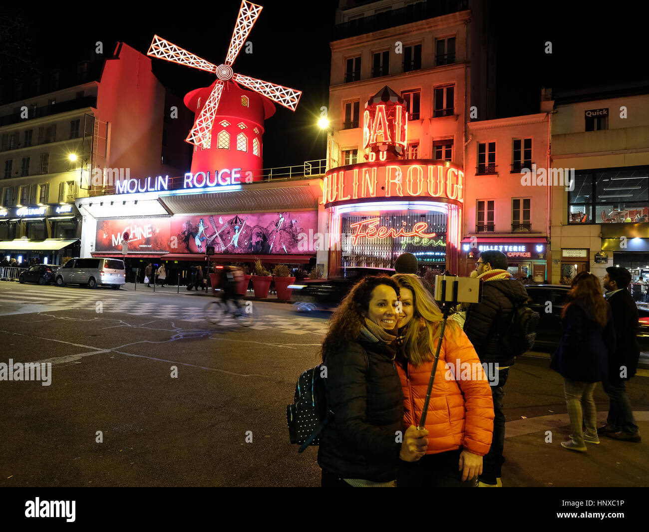 Moulin Rouge, French for Red Mill, is a cabaret club in the Pigalle area of Paris, France - Stock Image
