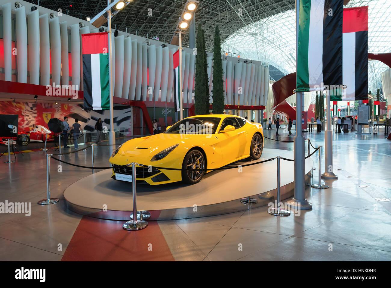 ABU DHABI, UNITED ARAB EMIRATES - DECEMBER 5, 2016: Ferrari World at Yas Island in Abu Dhabi, UAE. - Stock Image