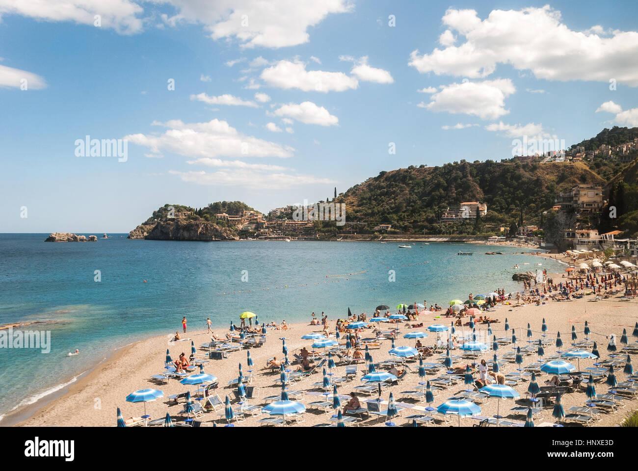 Beach near Taormina (Sicily) during the summer - Stock Image