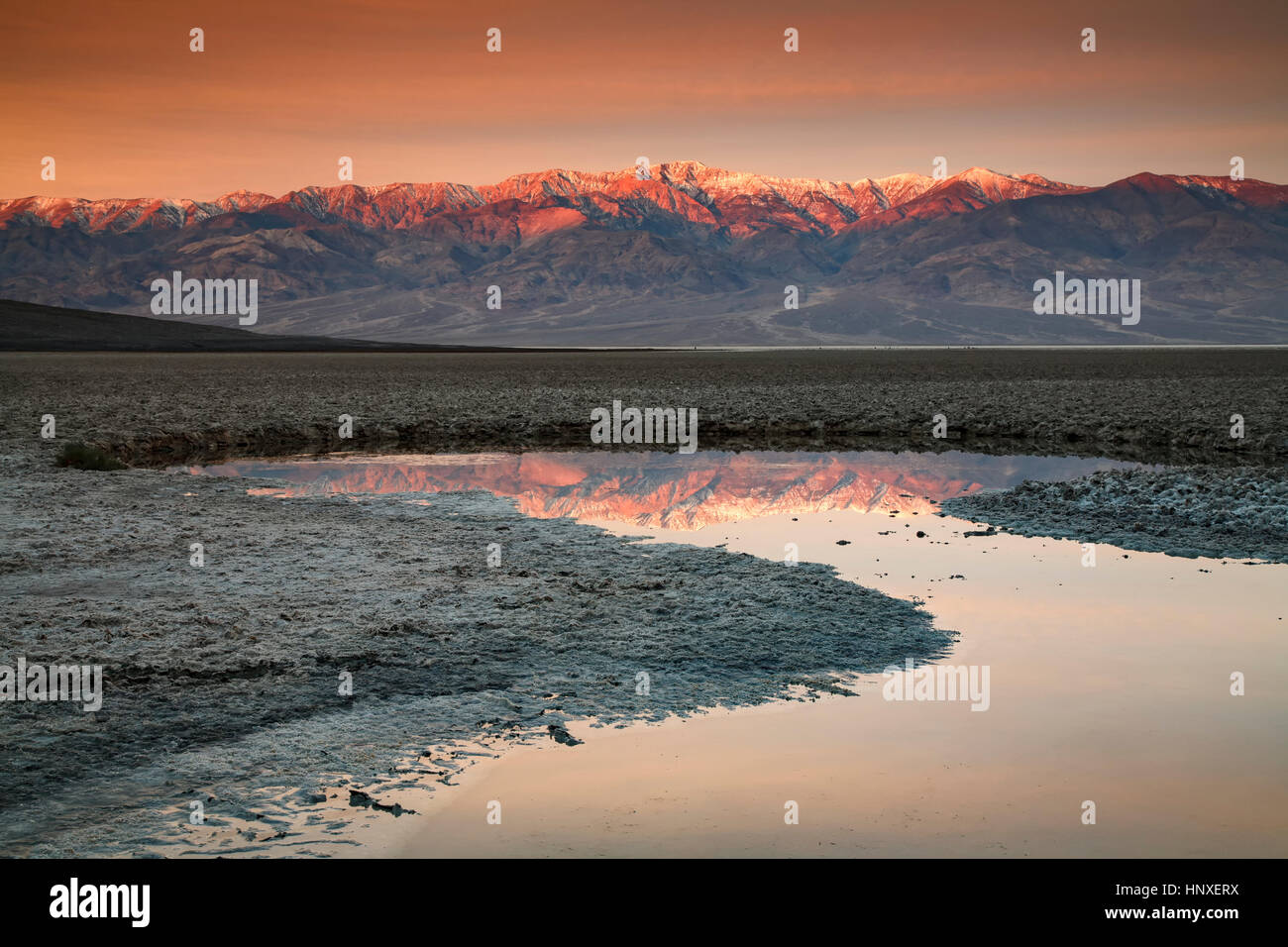 Telescope Peak (11,049 ft.) and Panamint Range reflected on pond, Badwater Basin, Death Valley National Park, California - Stock Image