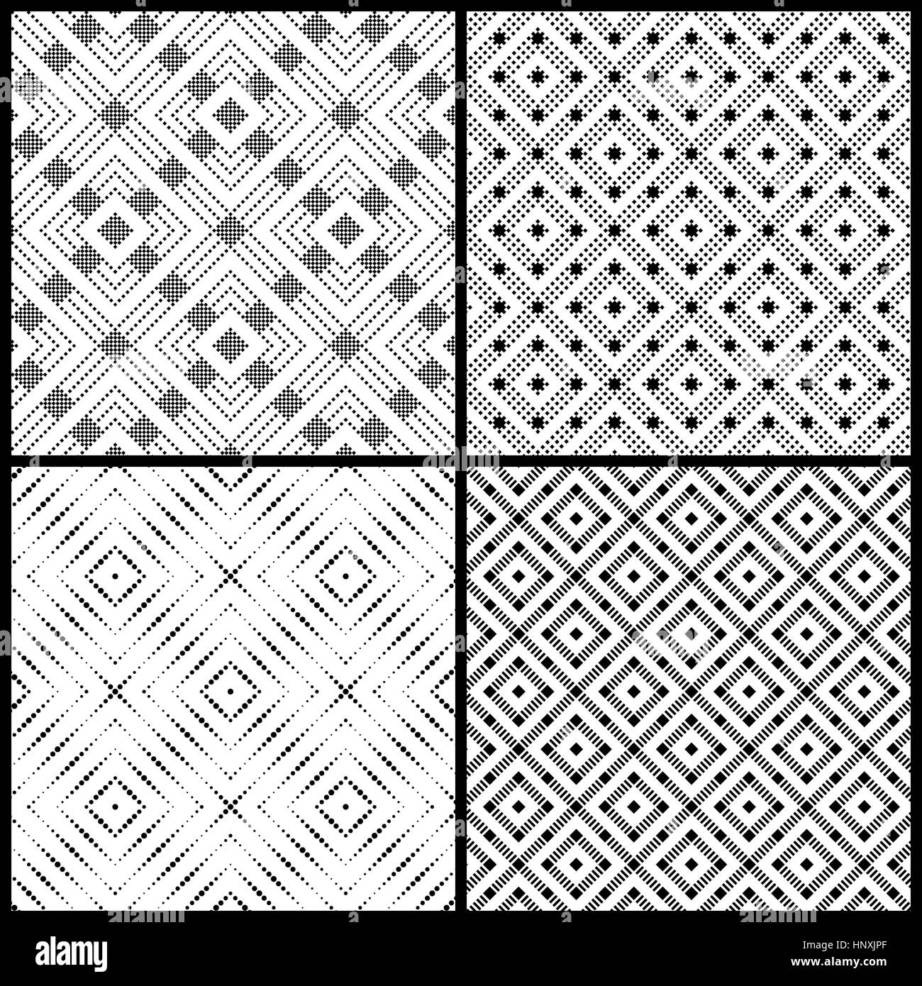 Seamless pattern. Collection of four simple classic textures with small dots, squares. Repeating geometric shapes, - Stock Image