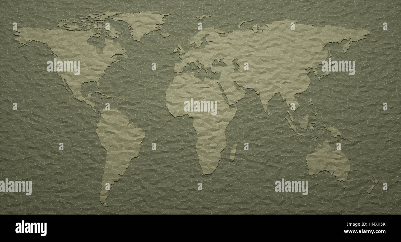 3D illustration. World map with embossed details. - Stock Image