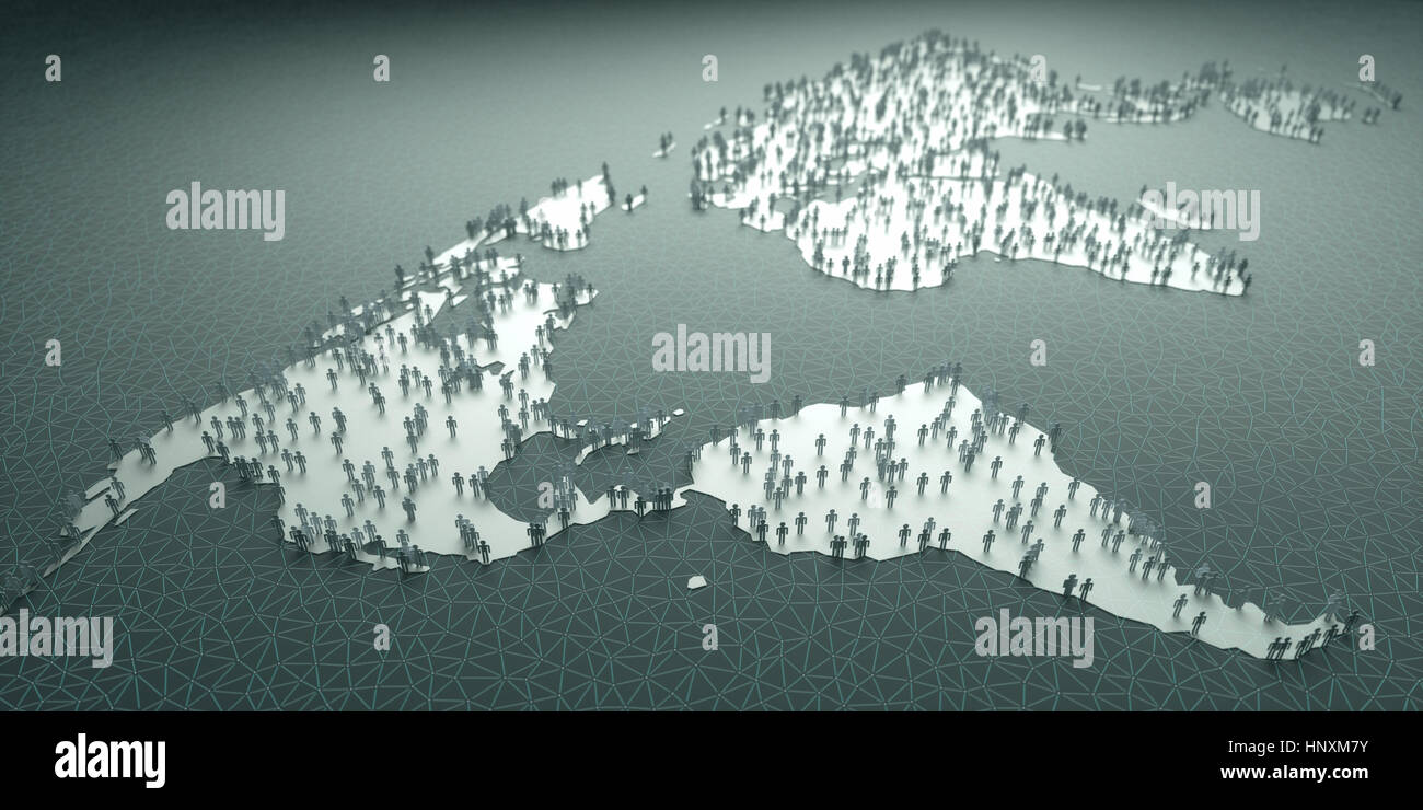 Paper people around the world, concept of population, demography, aging, migrations, birth, mortality, business - Stock Image