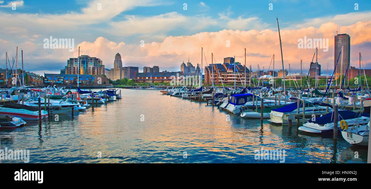 Waterfront Marina And City Skyline Of Buffalo New York At Dusk Stock Photo Alamy