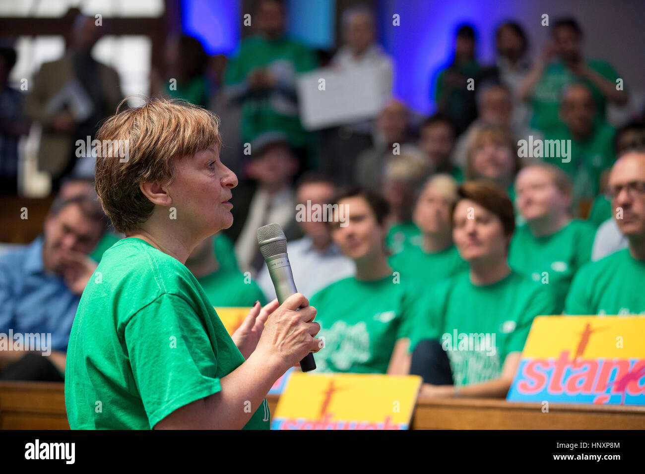 NUT General Secretary Christine Blower speaks at a rally in central London on 10 June 2014. - Stock Image