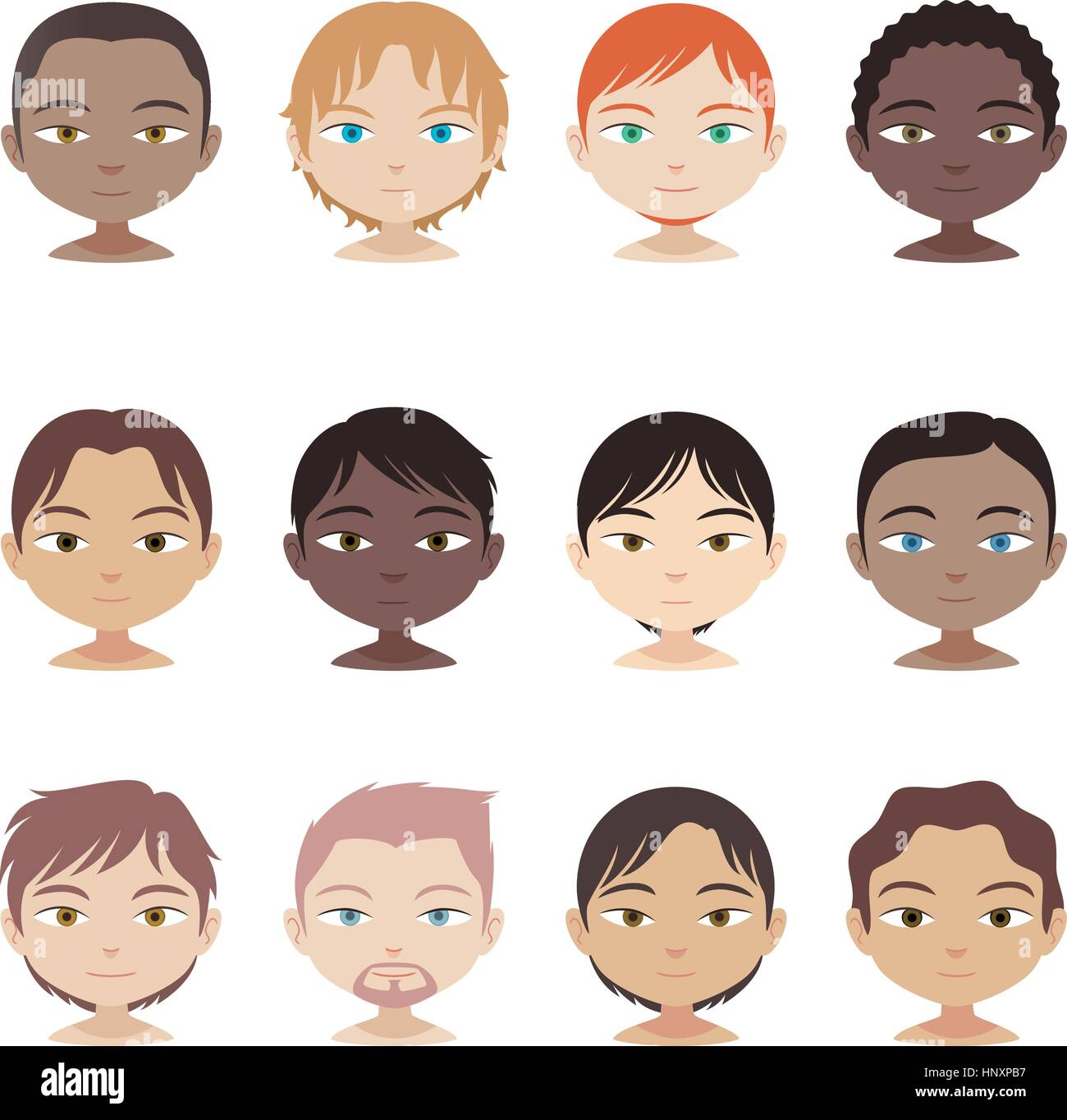 head and shoulders avatar multi-ethnic people Set, with twelve avatar people from different ethnics and haircuts. - Stock Vector