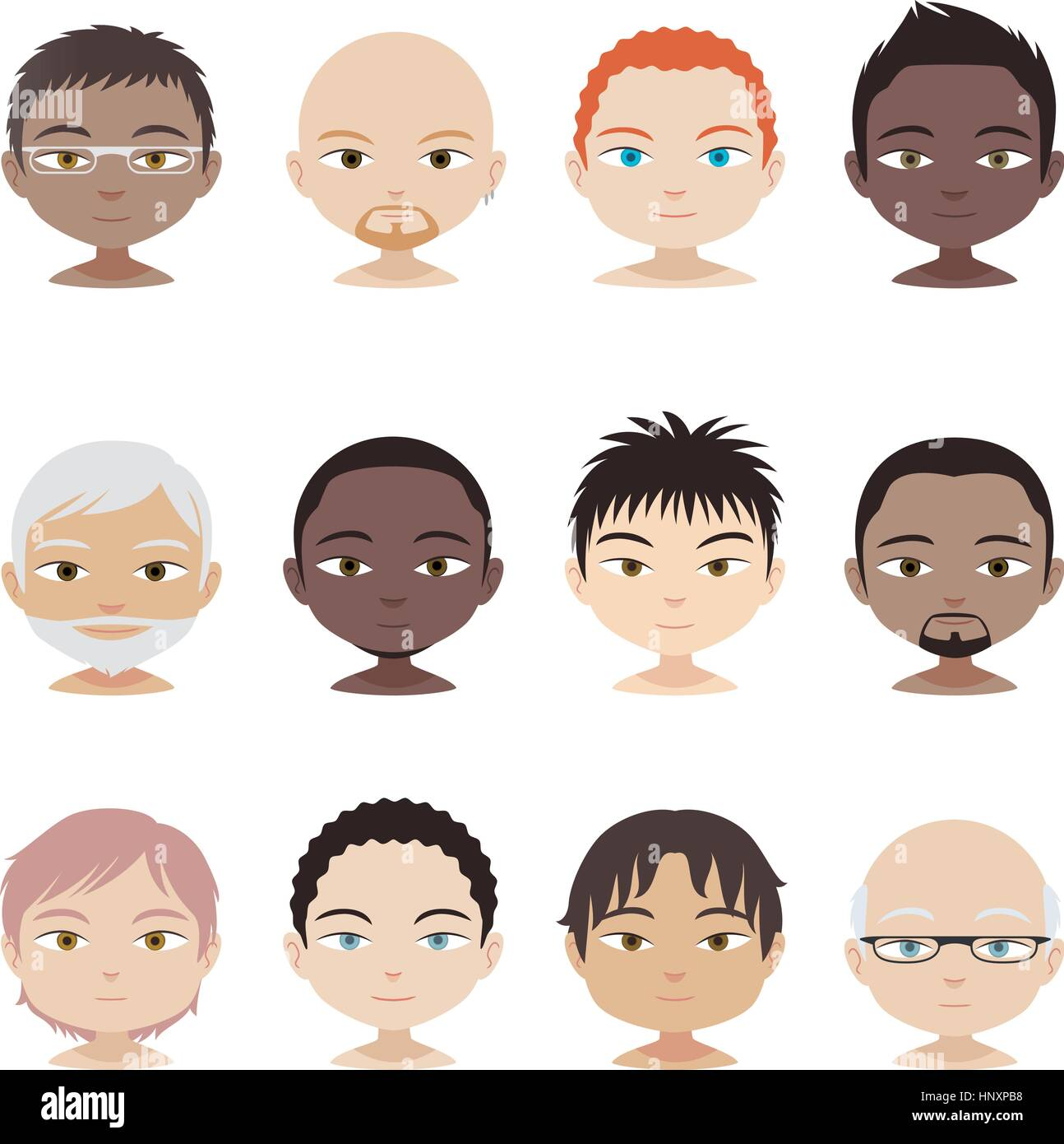 Head and Shoulder People Avatar Profile Men faces Set, vector illustration. - Stock Vector