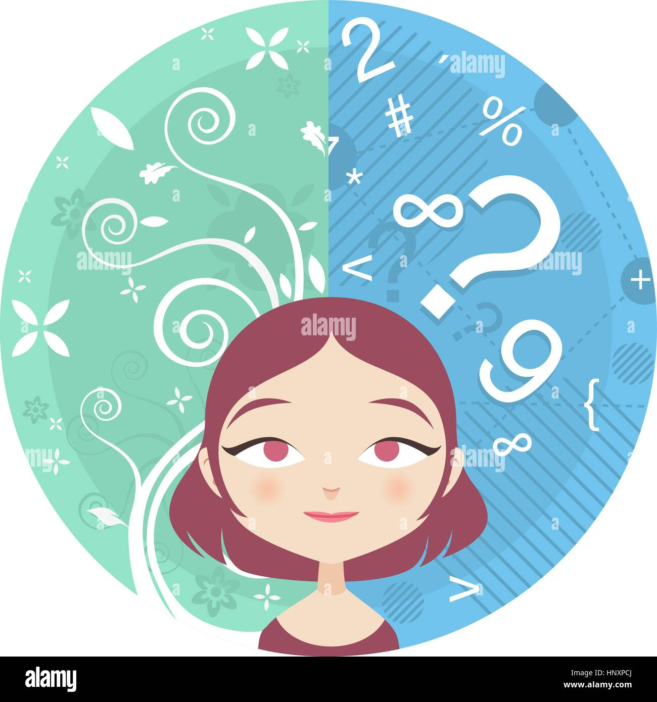 Vector illustartion of the Left and Right Brain sides of a young woman - Stock Image