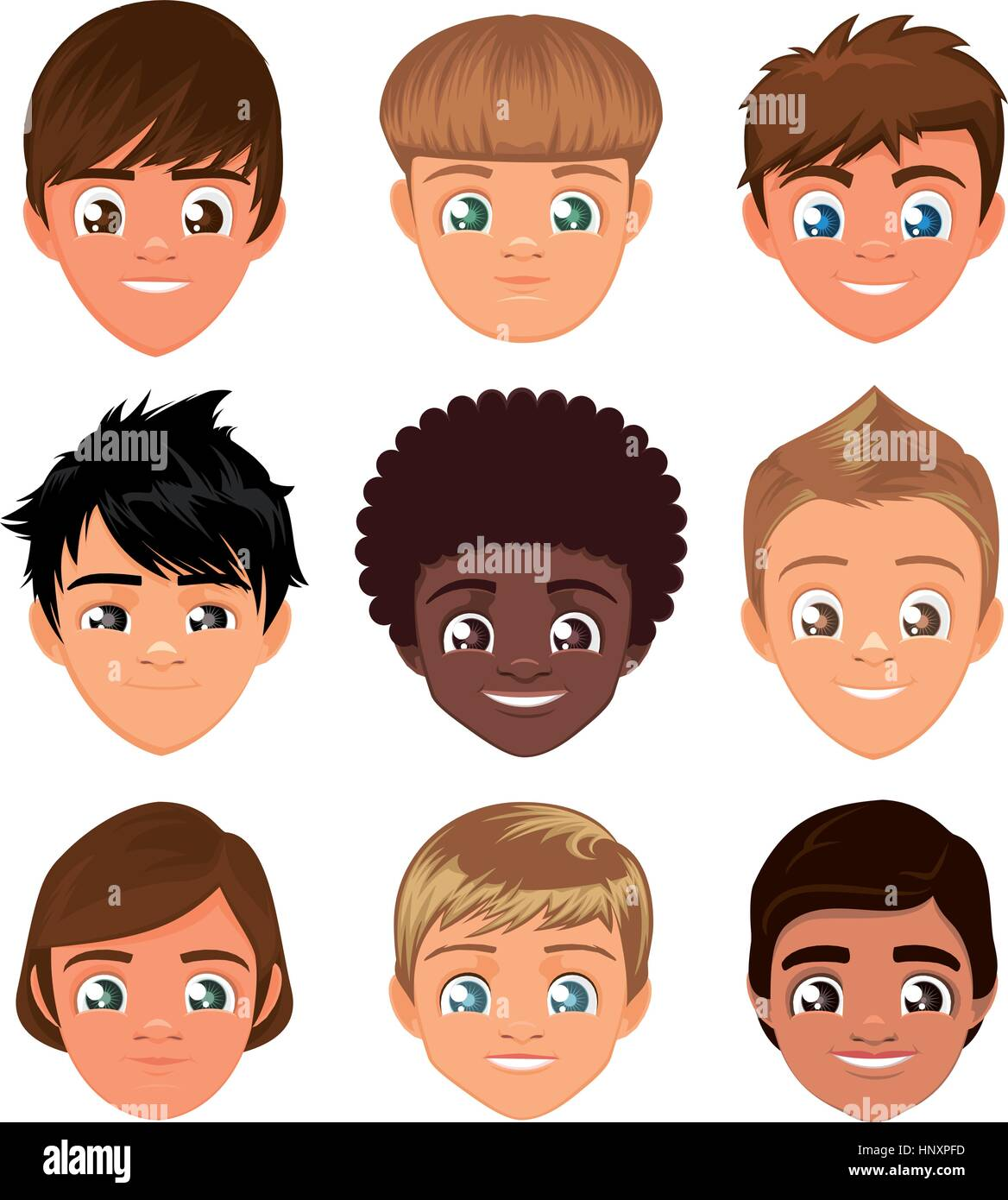 Little boys head faces avatar profile cartoon special character Set, with cool hairstyle vector illustration. - Stock Vector
