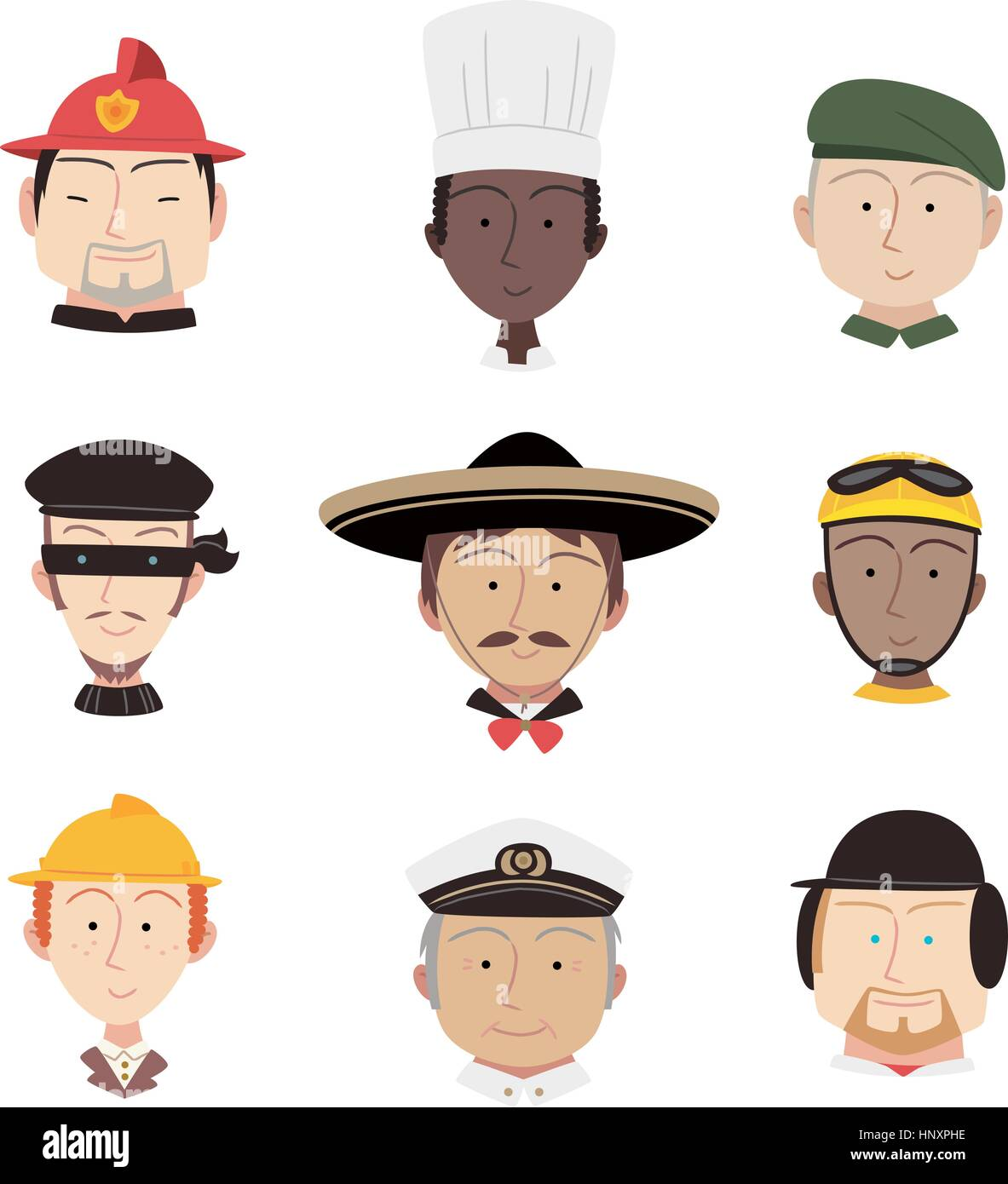 Head and Shoulder Professional People Profile avatar, with fireman, chef, military man, captain, cyclist, fire fighter, - Stock Image
