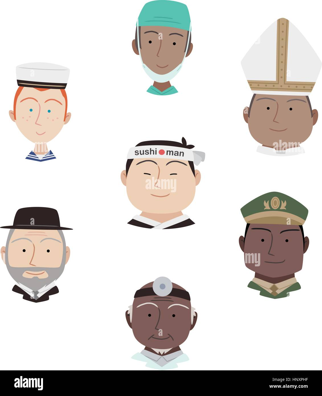 Head and Shoulder Professional people Avatar Profile Characters Cartoon Vectors Illustration. - Stock Vector