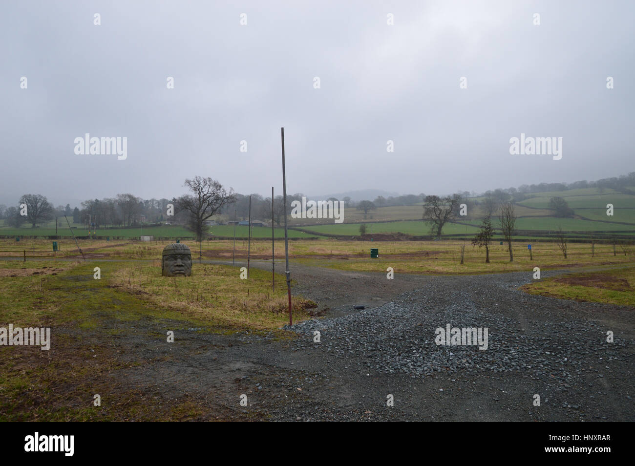 Hay Festival site during the winter, Powys, Wales - Stock Image