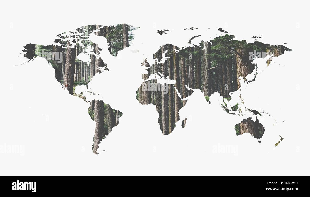 inspirational world map superimposed on woodland - Stock Image