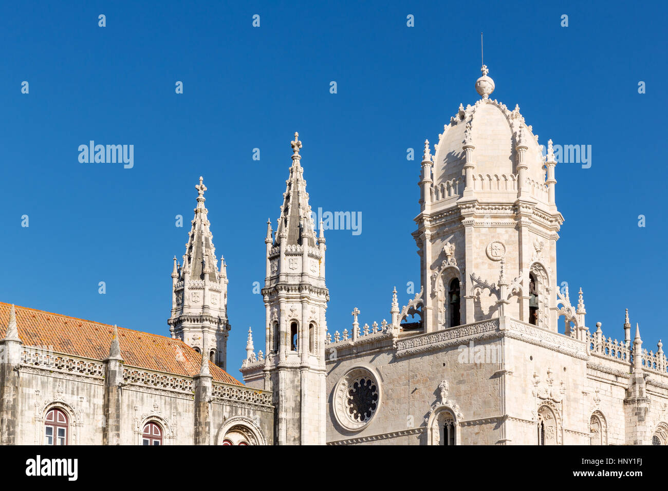 Mosteiro dos Jeronimos or the church of the Jerónimos Monastery, Belém, Lisbon, Portugal - Stock Image