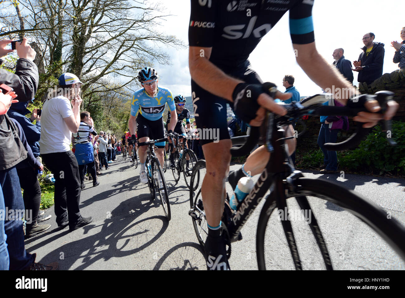 Race winner Lars-Petter Nordhaug of Team Sky shouts out on the Tour de Yorkshire race up  the very steep Priest - Stock Image