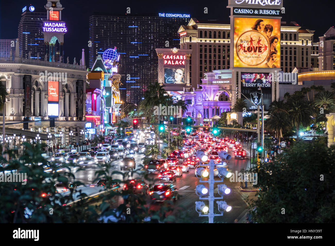 Las Vegas, Nevada, USA - October 10, 2015:  Night weekend traffic on the Las Vegas Strip. - Stock Image