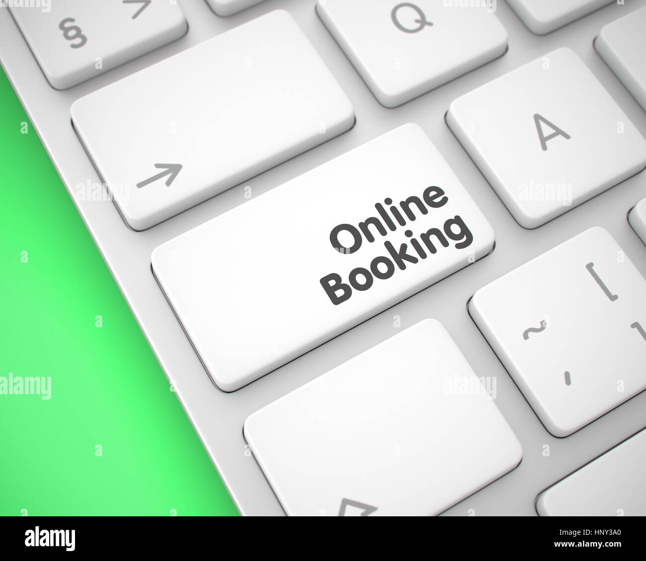 Online Booking - Text on White Keyboard Key. 3D. - Stock Image